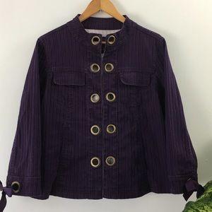 LAI Purple Denim Jacket With Hook Closures Sz M